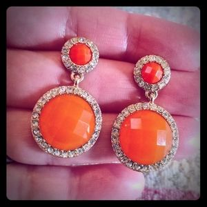 Jewelry - Faceted Crystal Tangerine Pierced Earrings